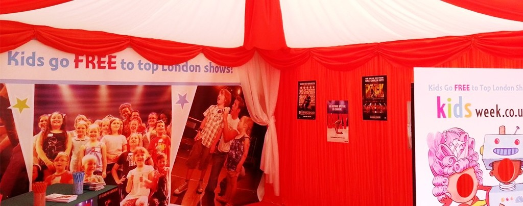 Coloured draping for an exhibitor at West End Live