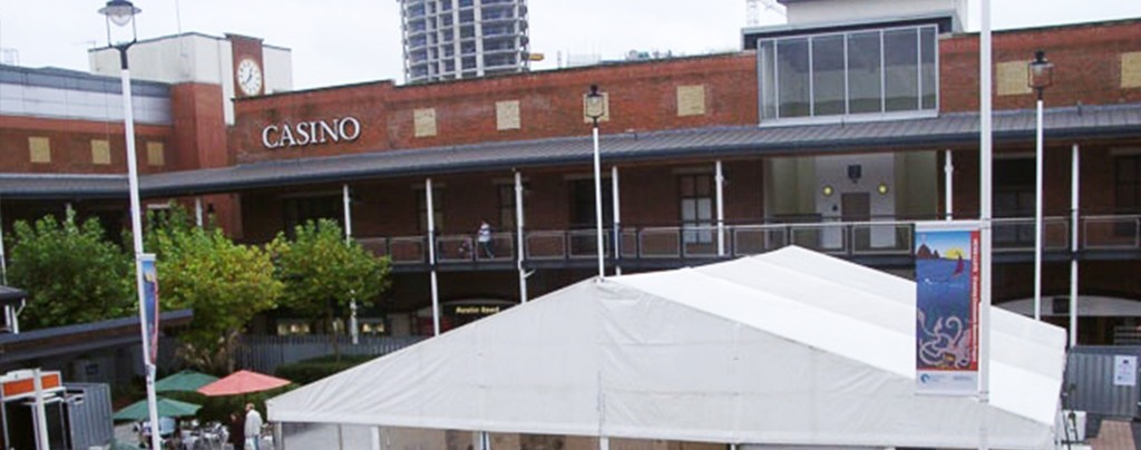 Hospitality marquee outside the British Library