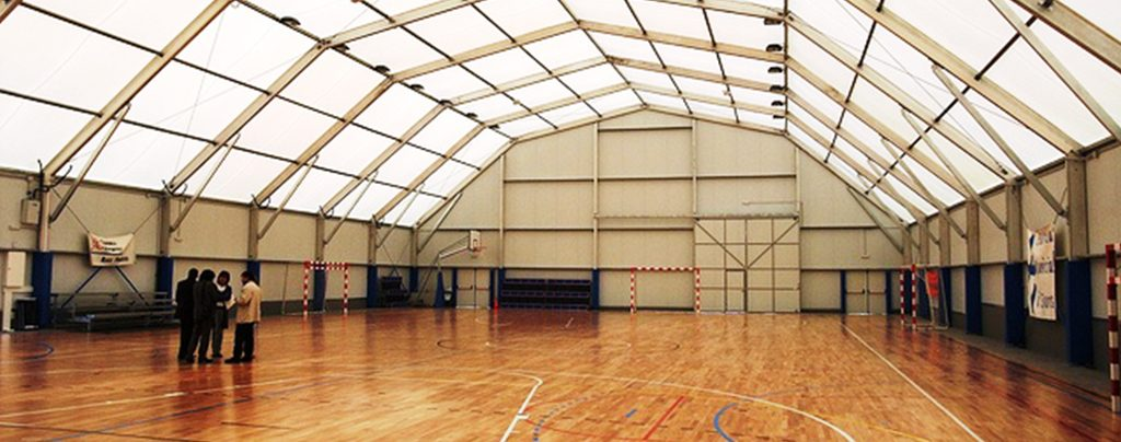 Inside multi purpose temporary sports facility