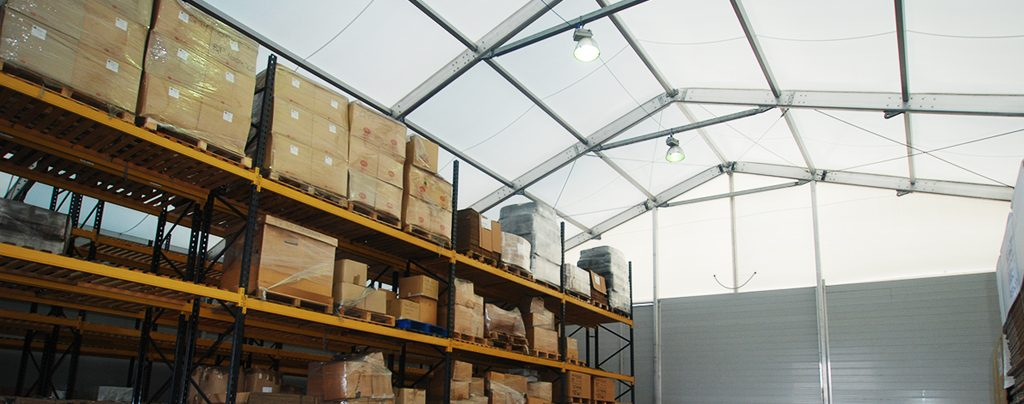 Large temporary warehouse with plenty of storage space