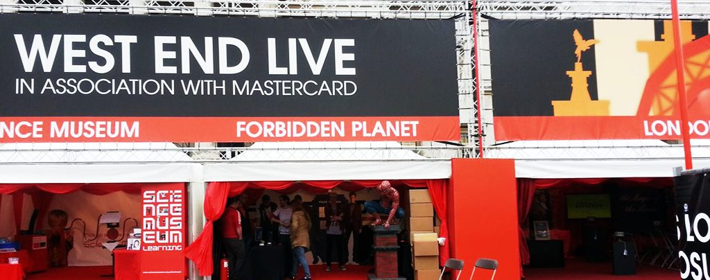 Marquees for a range of exhibitors at West End Live