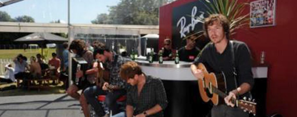 Ray Ban's branded marquee at a live outdoor festival