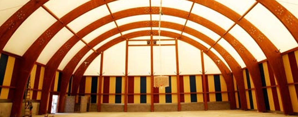 Temporary classic indoor basketball court
