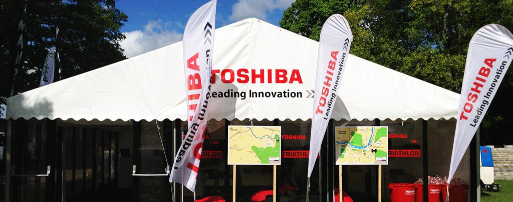 Toshiba's sponsorship marquee at Windsor Triathlon