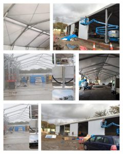 Temporary warehouse built in 7 days