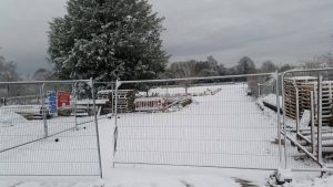 Temporary Warehouse Build in the Snow